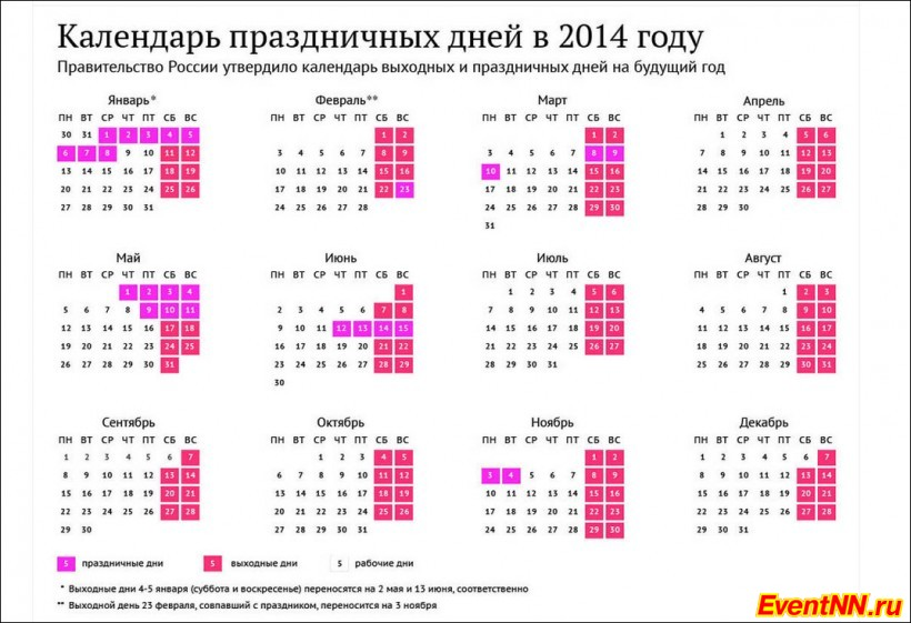 Календарь праздников на 2014 год.